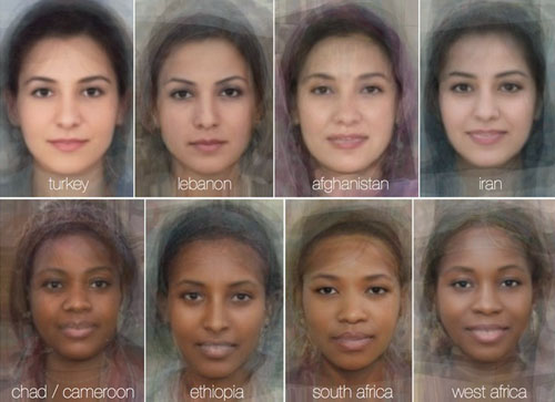 The average female face for each country