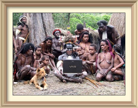 The Dani tribes observing a laptop/notebook